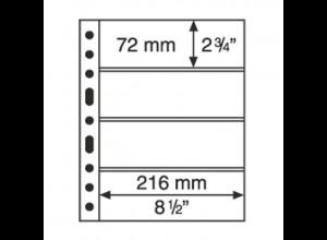 5 Kunststoffhüllen GRANDE 4C, 4 waagerechte Streifen, glasklar