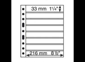 5 Kunststoffhüllen GRANDE 8S, 8 waagerechte Streifen, schwarz