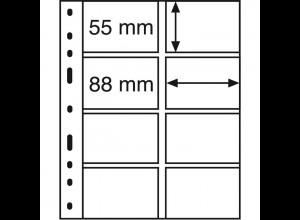 Leuchtturm Kunststoffhüllen OPTIMA 4VS, 10 Stück mit 2 x 4er-Teilung, schwarz