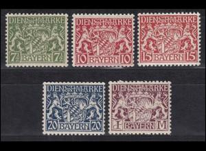 Bayern Dienstmarken 25-29 Staatswappen, Satz komplett 5 Werte postfrisch **
