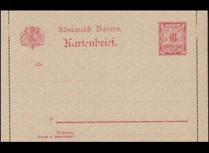 Bayern Kartenbrief K 1 Wertziffer 10 Pf mit Bemerkung, wie verausgabt **