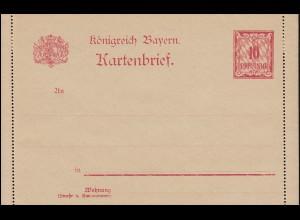 Bayern Kartenbrief K 2 Wertziffer 10 Pf ohne Bemerkung, wie verausgabt **