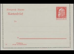 Bayern Kartenbrief K 4 A/01 Luitpold 10 Pf großer WSt. DV 11, wie verausgabt **