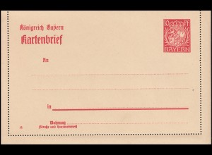 Bayern Kartenbrief K 5/01 Wappen 10 Pf DV 14, wie verausgabt **