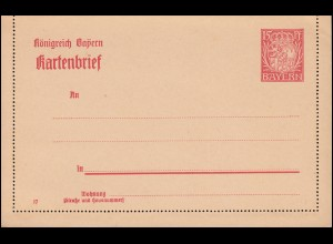 Bayern Kartenbrief K 6/02 Wappen 15 Pf DV 17, wie verausgabt **