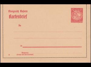 Bayern Kartenbrief K 6/03 Wappen 15 Pf DV 18, wie verausgabt **