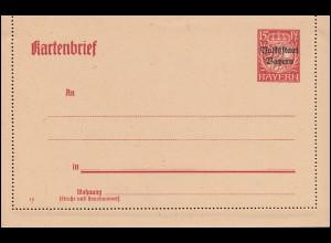 Bayern Kartenbrief K 8 Volksstaat 15 Pf gelblich, wie verausgabt **
