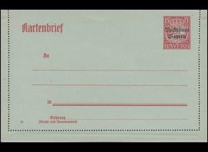 Bayern Kartenbrief K 9 Volksstaat 15 Pf bläulich, wie verausgabt **