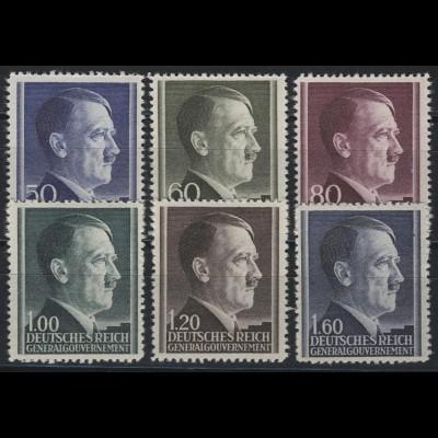 83-88A Hitler 1941, 6 Werte, WEIT gezähnt, Satz kpl. ** postfrisch