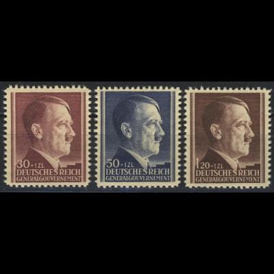 89-91 Geburtstag Hitler 1942, Satz komplett ** postfrisch