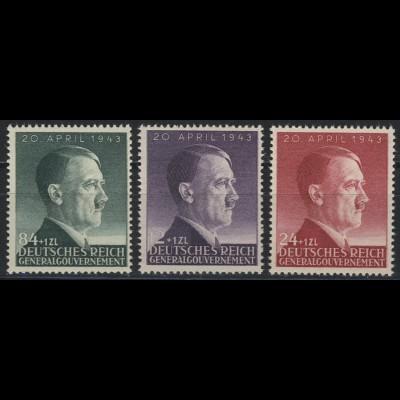 101-103 Geburtstag Hitler 1943, Satz komplett ** postfrisch