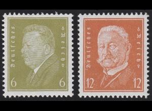 465-466 Reichspräsidenten 6 und 12 Pf., 2 Werte, Satz postfrisch **