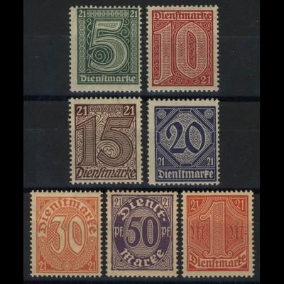 16-22 Zähldienstmarken für Preußen mit 21 in den Ecken, Satz 7 Werte **