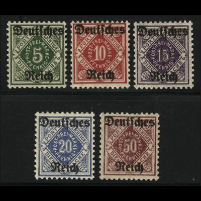 52-56 Württemberg Dienstsache mit Aufdruck, Satz 5 Werte **