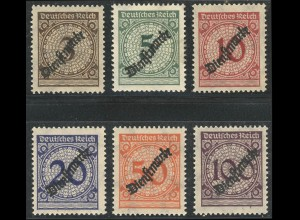 99-104 Dienst Korbdeckel 1923, 6 Werte, kompletter Satz **