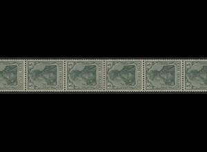 85Ia Germania Friedensdruck 5 Pf. aus der Rolle, ungefalteter 11er- Streifen **