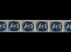 128 Bayern-Abschied 80 Pf. aus Rolle, 11er-Streifen mit Flickstelle, **
