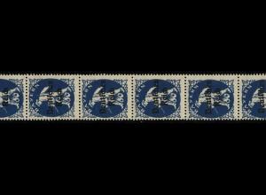 128 Bayern-Abschied 80 Pf. aus Rolle, 12er-Streifen mit zwei Flickstellen, **