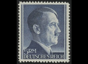 802A Hitler 5 Reichsmark ** WEIT gezähnt