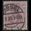 92 IIc Germania 60 Pf Deutsches Reich Kriegsdruck, O geprüft