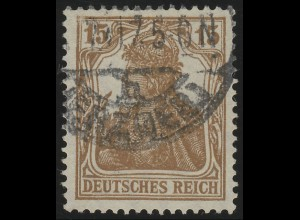 100b Germania 15 Pf dunkelbraunocker, O geprüft