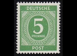 Alliierte Besetzung 915a Ziffer 5 Pf, dunkelgelblichgrün, ** geprüft