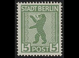 SBZ 1 AA ux Berliner Bär 5 Pf, grün, **