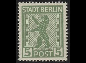 SBZ 1 AA vx Berliner Bär 5 Pf, grün, **
