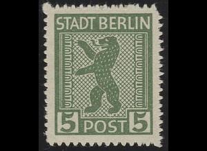 SBZ 1 AB vx Berliner Bär 5 Pf, grün, **
