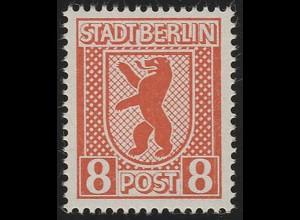 SBZ 3 A ux Berliner Bär 8 Pf, orangerot, **