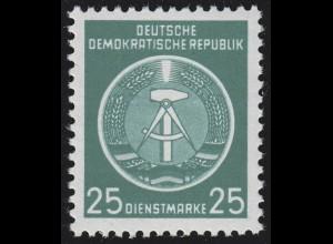 10x XII Dienst-A Zirkel 25 Pf. Wz.2X II, ** postfrisch
