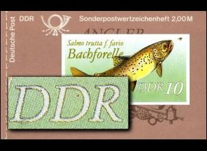MH 9w1 Süßwasserfische 1988 - PLF Punkt im D von DDR, Feld 4 **