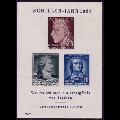 Block 12 X II Schiller Plattenfehler IX (mit PLF IV), postfrisch **
