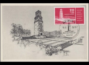 651 Einweihung Buchenwald-Denkmal auf Maximumpostkarte 1956