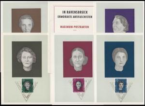715-719 In Ravensbrück ermordete Antifaschisten, Satz auf Maximum-Karten, 1959