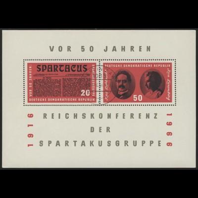 Block 25 Spartakus-Block 1966, mit Stempel Berlin ZAW