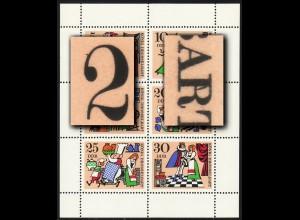 1323-1328 Märchen-Kleinbogen mit 2 PLF Strich auf 2 / Strich im R, Felder 5+6 **
