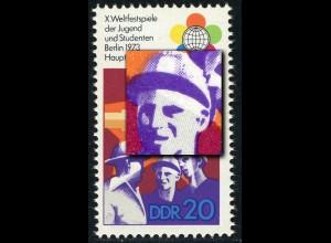 1864I Weltfestspiele 20 Pf: dunkler Fleck am Ohr des mittleren Mannes, **