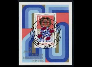 Block 41 25 Jahre DDR 1974 mit Tagesstempel