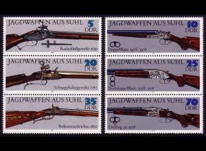 2376-2381 Jagdwaffen aus Suhl 1978, 2x3er-Streifen, **