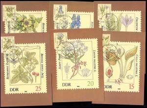 2691-2696 Giftpflanzen, Satz auf 6 Wermsdorf-MK ESSt BERLIN 6.4.1982