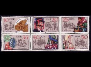2716-2721 Zusammendruck Sorbische Volksbräuche, Sechserblock postfrisch **