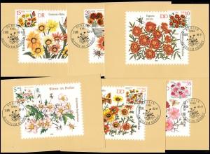 2737-2742 Herbstblumen, Satz auf 6 Wermsdorf-MK ESSt BERLIN 21.9.1982