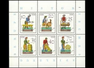 2758-63 Spielzeug-Kleinbogen 1982, mit Tagesstempel