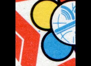 2959-2960 Weltfestspiele Moskau 1985 blauer Fleck im Zierfeld, Feld 26, **