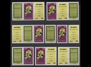 1365-1367A Karl Marx 1968, 6 Zusammendrucke + 3 Einzelmarken, Set postfrisch **