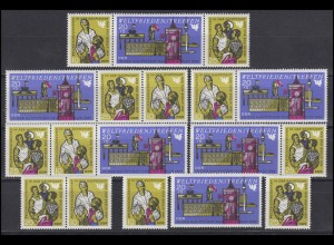 1478-1480 Weltfriedenstreffen Berlin 1969, 6 ZD + 3 Ezm, Set postfrisch