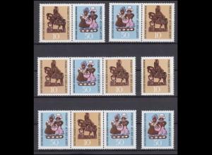 1521+1523 Volkskunst aus der Lausitz 1969, 4 ZD + 2 Ezm, Set postfrisch