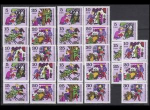 1545-1550 Märchen 1970, 9 Zusammendrucke + 6 Einzelm., Set postfrisch **
