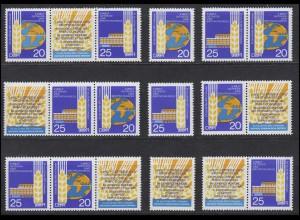 1575-1576 Getreide- und Brotkongreß Dresden 1970, 6 ZD + 2 Ezm, Set postfrisch